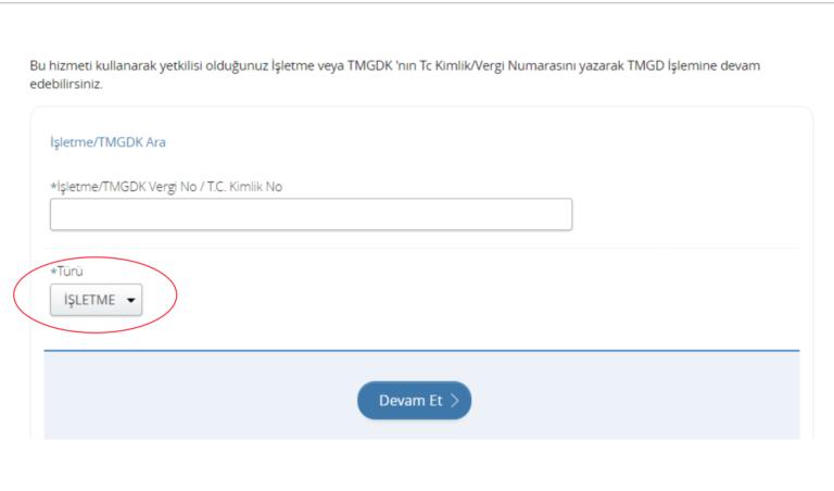 e-devlet üzerinden ulaştırma bakanlığına ait sayfada listelenen atama bölümü için tmgd işletme vergi no girme görseli